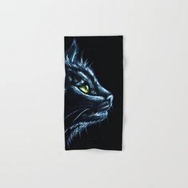 Black Cat Portrait White Charcoal Art Hand & Bath Towel