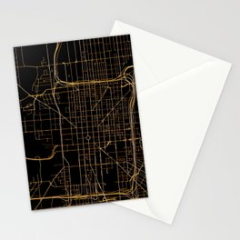 Black and gold Indianapolis map Stationery Cards