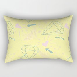 Memphis Pattern - Gemetrical  Retro Art in Yellow and Pink - Mix & Match With Simplicity Of Life Rectangular Pillow