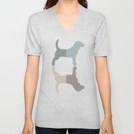 Beagle Silhouettes Pattern - Natural Colors Unisex V-Neck