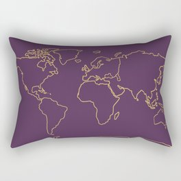 World map outline royal plum and gold Rectangular Pillow