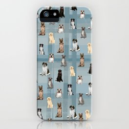 Sit, Smile Large Dogs in Blue iPhone Case