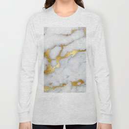 White and Gray Marble and Gold Metal foil Glitter Effect Long Sleeve T-shirt