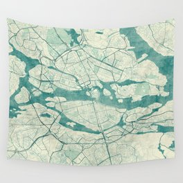 Stockholm Map Blue Vintage Wall Tapestry