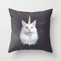 unicorn Throw Pillows featuring Unicorn Cat by Oh Monday