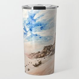 Desert at sunset- Wadi Rum, Jordan in pinks and blues Travel Mug