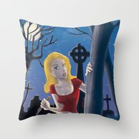 buffy Throw Pillows featuring Buffy by TeeNa Stone