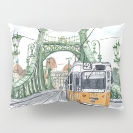Budapest Hungary Liberty Bridge Painting Pillow Sham