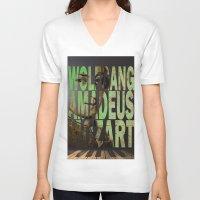 mozart V-neck T-shirts featuring Wolfgang Amadeus Mozart by Ganech joe