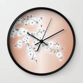 Rose Gold White Cherry Blossom Wall Clock