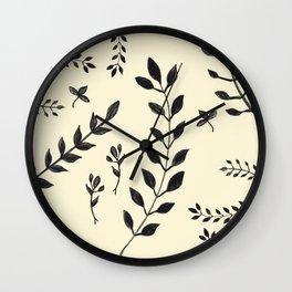 Black Leaves Pattern #2 #drawing #decor #art #society6 Wall Clock