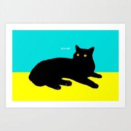 Black Cat on Yellow and Sky Blue Art Print