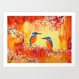Kingfishers with red, orange and yellow Art Print