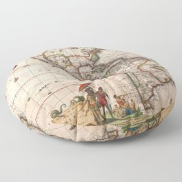 North & South America map 1658 with 2017 enhancements Floor Pillow