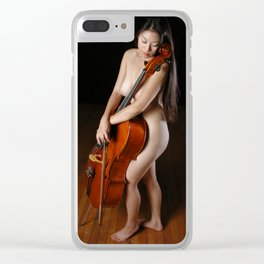 0199-JC Nude Cellist with Her Cello and Bow Naked Young Woman Musician Art Sexy Erotic Sweet Sensual Clear iPhone Case