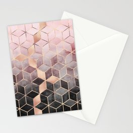 Pink And Grey Gradient Cubes Stationery Cards