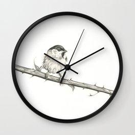 Milk-Warm Mewling of Chickadees Wall Clock
