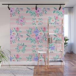 Beautiful watercolor garden floral paint Wall Mural