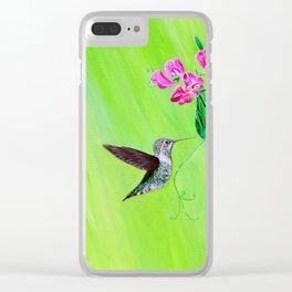 Hummingbird & Sweet Peas Clear iPhone Case