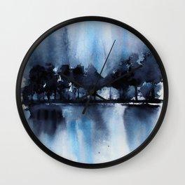 Blue Tree Reflections Wall Clock