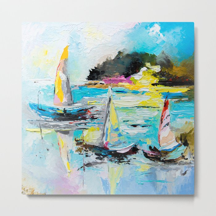 Boats on the lake Metal Print