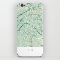 paris map iPhone & iPod Skins featuring Paris Map Blue Vintage by City Art Posters