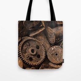 Cracked Wood Bobbins Tote Bag