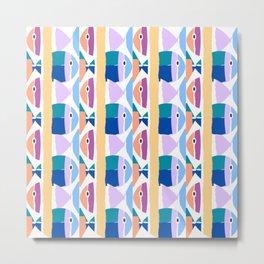 illustrations of fish texture modulate sea pattern Metal Print