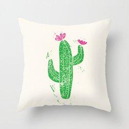 Linocut Cactus #2 Throw Pillow