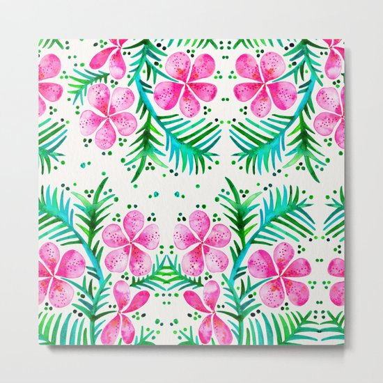 Orchid Bunch – Fuchsia & Green Palette Metal Print