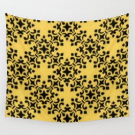 Vintage Brocade Damask Primrose Yellow Wall Tapestry