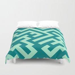 Magic Mint Green and Teal Green Diagonal Labyrinth Duvet Cover