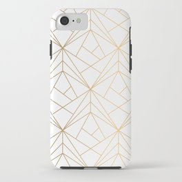 Geometric Gold Pattern With White Shimmer iPhone Case