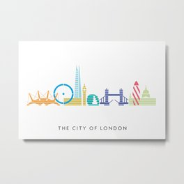 London Skyline White Metal Print