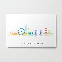 London Skyline White Metal Print