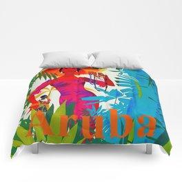 Vintage Caribbean Travel - Aruba Comforters