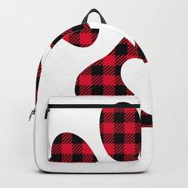 Dog Paw Heart Buffalo Plaid Backpack