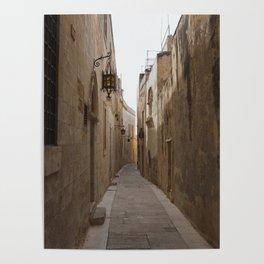 Narrow Streets in Mdina Poster