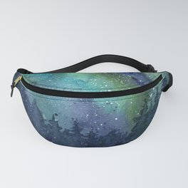 Galaxy Aurora Northern Lights Nebula Space Watercolor Fanny Pack