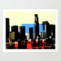los angeles Art Prints featuring Los Angeles by Amy Smith - ColorScape