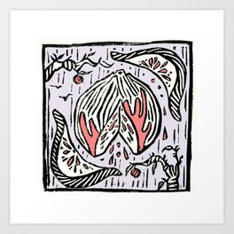 Blood Orange - Linoprint Art Print