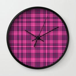 Pink & Purple Scottish Tartan Plaid Pattern Wall Clock