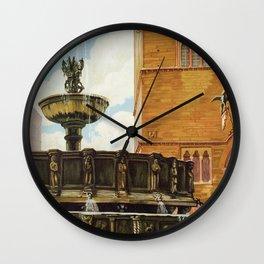 Travel Perugia and Fontana Maggiore Wall Clock