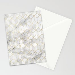 White Marble with Gold Cube Pattern Stationery Cards