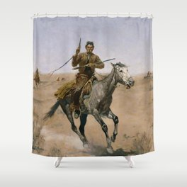 "Frederic Remington Western Art ""The Flight"" Shower Curtain"