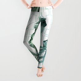 Mod Tropical Palm Leaves in Turquoise Green Blue Gradient Leggings