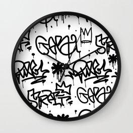 Crowns & Graffiti pattern Wall Clock