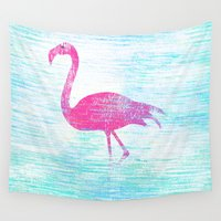 flamingo Wall Tapestries featuring Flamingo by Inmyfantasia