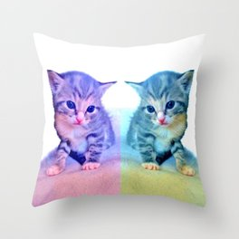 Cute Colorful Cat Couple Throw Pillow