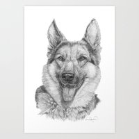 german Art Prints featuring German shephard by Doggyshop